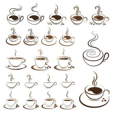clipart set hot coffee cup vector on a white background