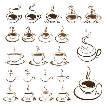 foto ustawić filiżankę gorącej kawy wektor na białym tle Ilustracje wektorowe