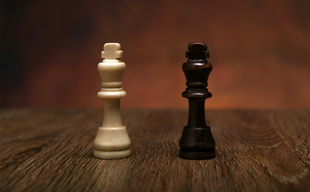 sureness: chess game with pieces on the table close up