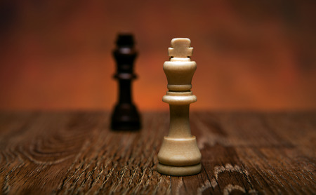 battle plan: chess game with pieces on the table close up