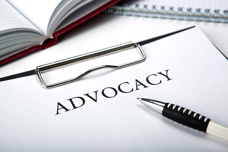 case sheet: document with the title of advocacy close up