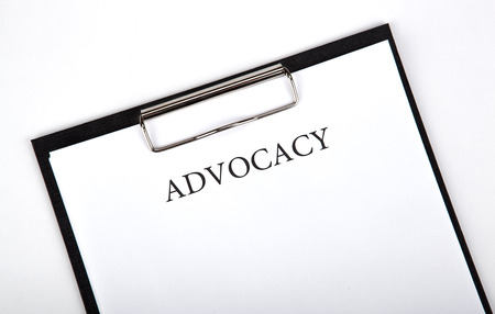 justification: document with the title of advocacy close up