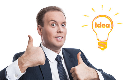 expectation: portrait of a man with an idea on a white background Stock Photo