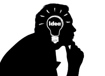 afflatus: portrait of a man with an idea on a white background Stock Photo