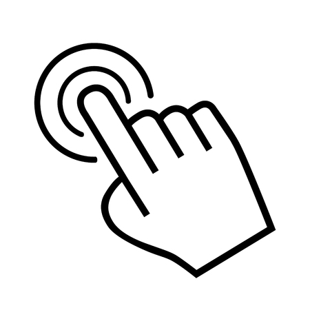 ideograph: large cursor hand icon on white background Illustration