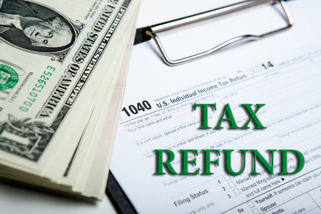 tax form: american dollars and tax form close up