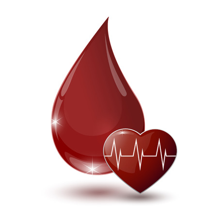 large glossy red drop of blood with medical sign heart on a white backdrop
