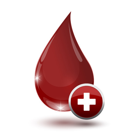 therapeutic: large glossy red drop of blood with medical sign on a white backdrop Illustration