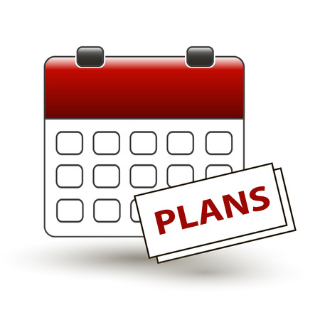 happening: tear-off calendar with a note with a title plans on a white