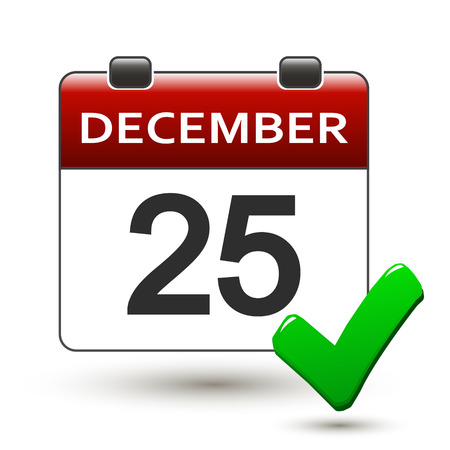 happening: tear-off calendar with title 25 december on a white