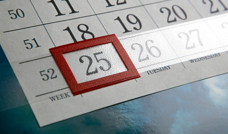 dispositions: December 25 and white calendar days with numbers close up