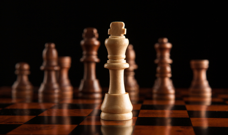 adversary: chess pieces with the king in the center Stock Photo