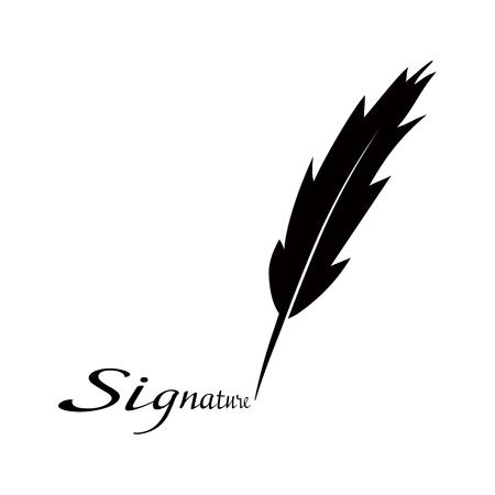 Grote vulpen en inschrijving handtekening geïsoleerd Stock Illustratie