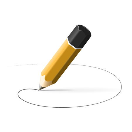 simple pencil hb with drawn line isolated on white background Illustration