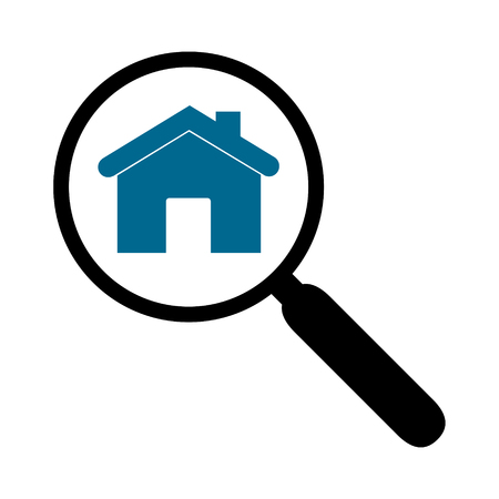 Illustration of a magnifier and a silhouette of a house isolated.