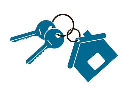 two keys from the apartment with a keychain in the form of a house isolated Illustration