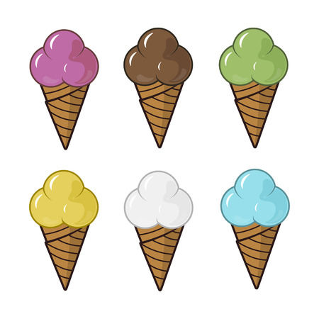 Colored ice cream cones set
