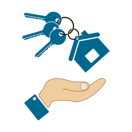 icons in the form keys and a house with human hand isolated
