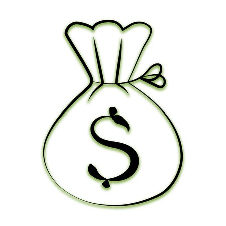 icon in the form of a bag with dollars on a white background