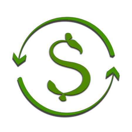 dollar symbol in the form of a green plant isolated