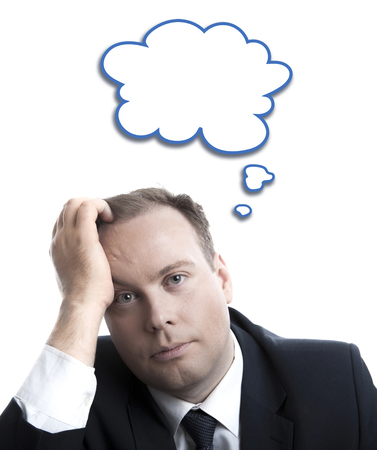 portrait of a man in thinking with a cloud over his head isolated Stock Photo