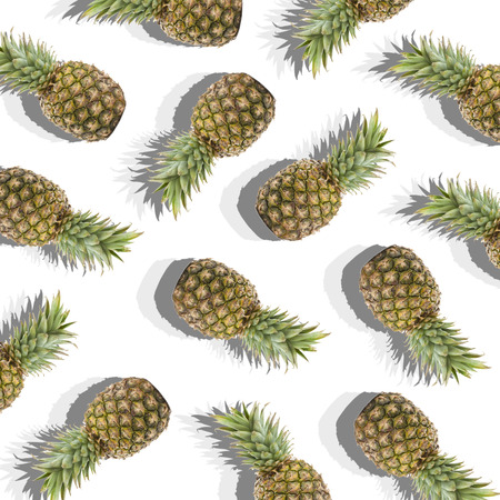 illustration in the form of white background with image of ripe pineapples Фото со стока