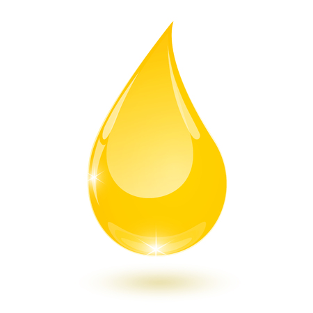 Yellow drop of vegetable oil drops down isolated