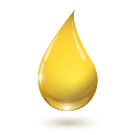 Yellow drop of oil drops down isolated