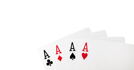 four cards with aces on white background isolated Stock fotó