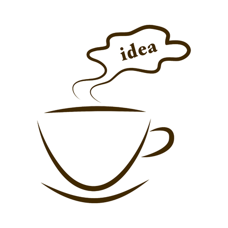 web icon cups of coffee with steam cloud idea isolated