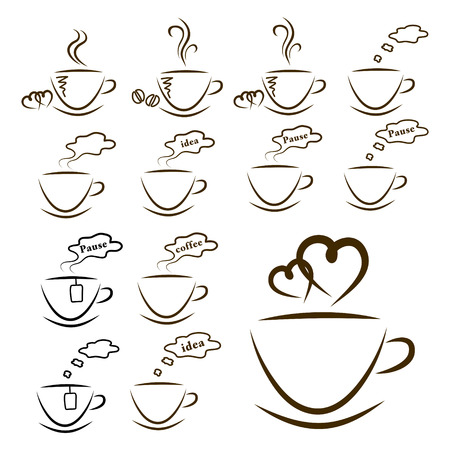 web icons coffee and tea set isolated Illustration