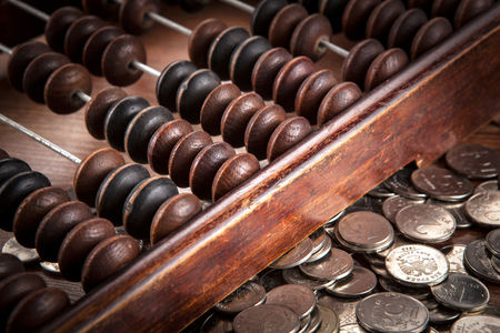 old abacus with russian ruble coins close up Stock fotó