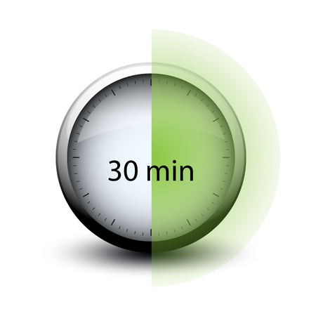 stopwatch with expiring time 30 minutes web icon isolated
