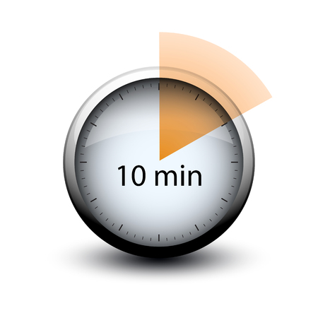 stopwatch with expiring time 10 minutes web icon isolated