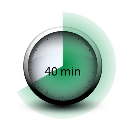 stopwatch with expiring time 40 minutes web icon isolated Illustration