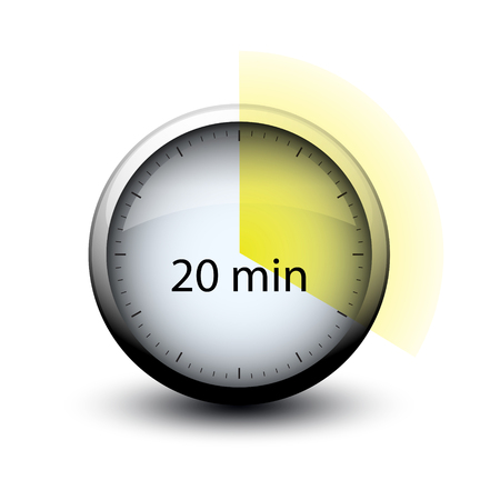 stopwatch with expiring time 20 minutes web icon isolated Illustration