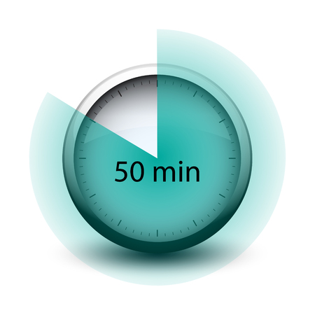 stopwatch with expiring time 50 minutes web icon isolated Illustration