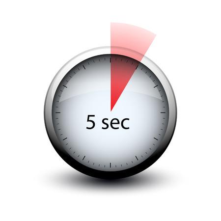 chronomètre avec l'heure d'expiration 5 secondes icône web isolée Vecteurs