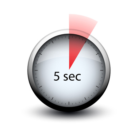 stopwatch with expiring time 5 seconds web icon isolated