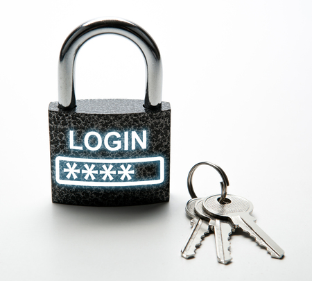 durable padlock with password login with keychain on white close up