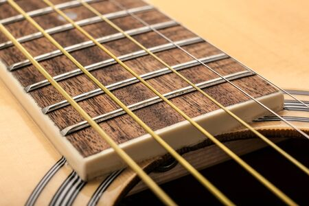 metal strings on an acoustic guitar close up close up