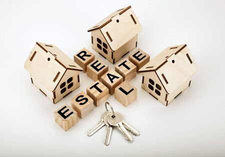 Real estate concept in the form of new housing and keys Stok Fotoğraf