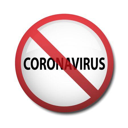 illustration of a sign prohibiting coronavirus isolated