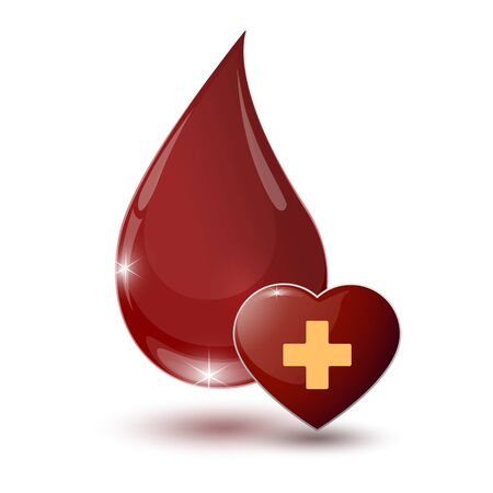 large glossy red drop of blood with medical sign heart on a white background
