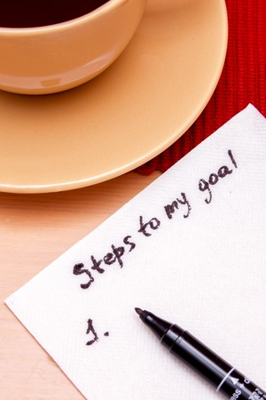setting goals: Note on a napkin, plan for achieving a goal