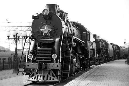 Old russian steam train Stock Photo