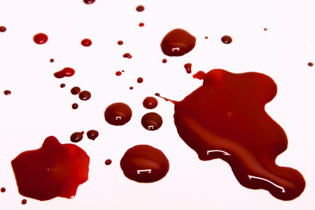 sangre derramada: Las manchas de sangre sobre un fondo blanco