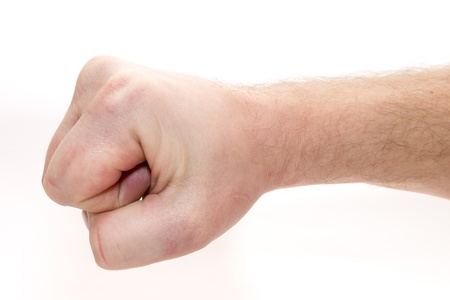 Man hand. Fist. Boxing, War. Isolated on white background. Stock Photo - 16909269