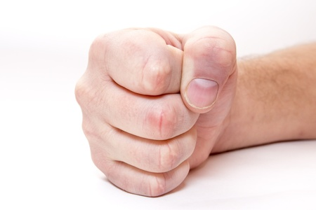 Man hand. Fist. Boxing, War. Isolated on white background. Stock Photo - 16909271