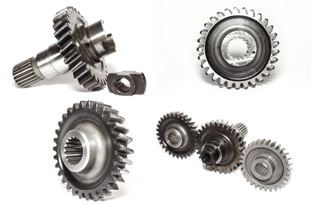 interplay: Gears collage isolated on white background Stock Photo